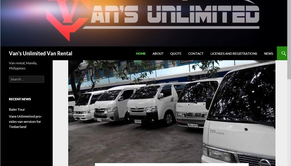 Van's Unlimited Van Rental web site